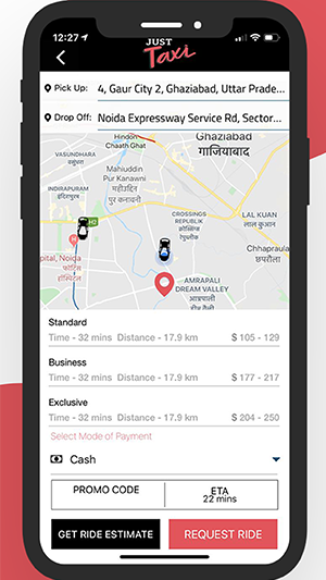 justtaxi app location tracking option