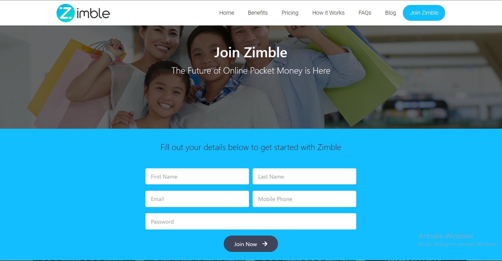 Zimble Signup Page