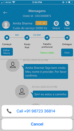 Provider Calling Customer