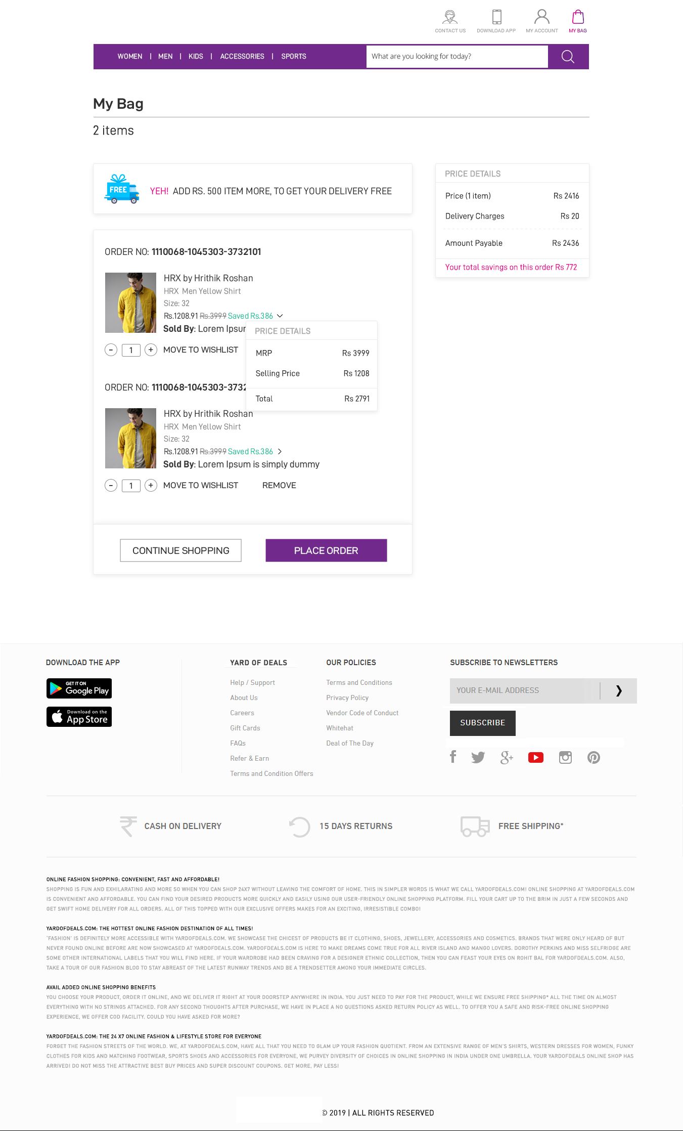 E-commerce Website My Cart
