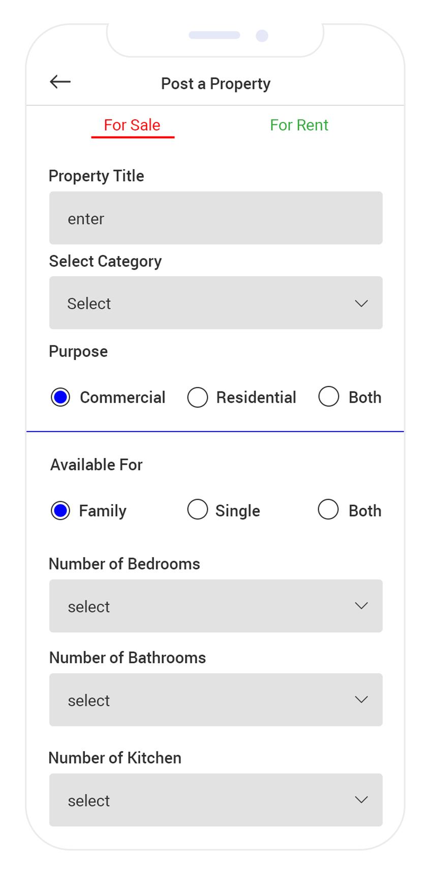 Real Estate App Development Post a Property