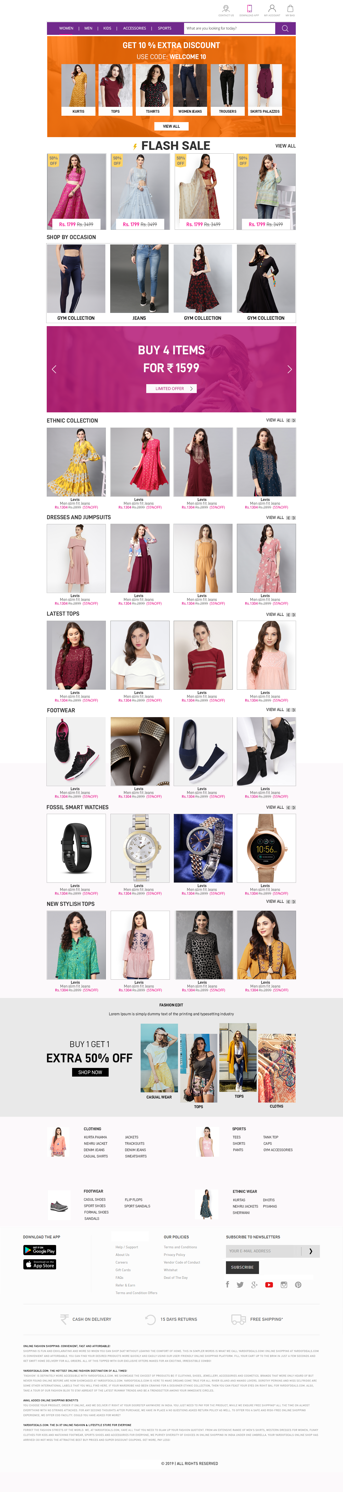 E-commerce page product listing and flash sale
