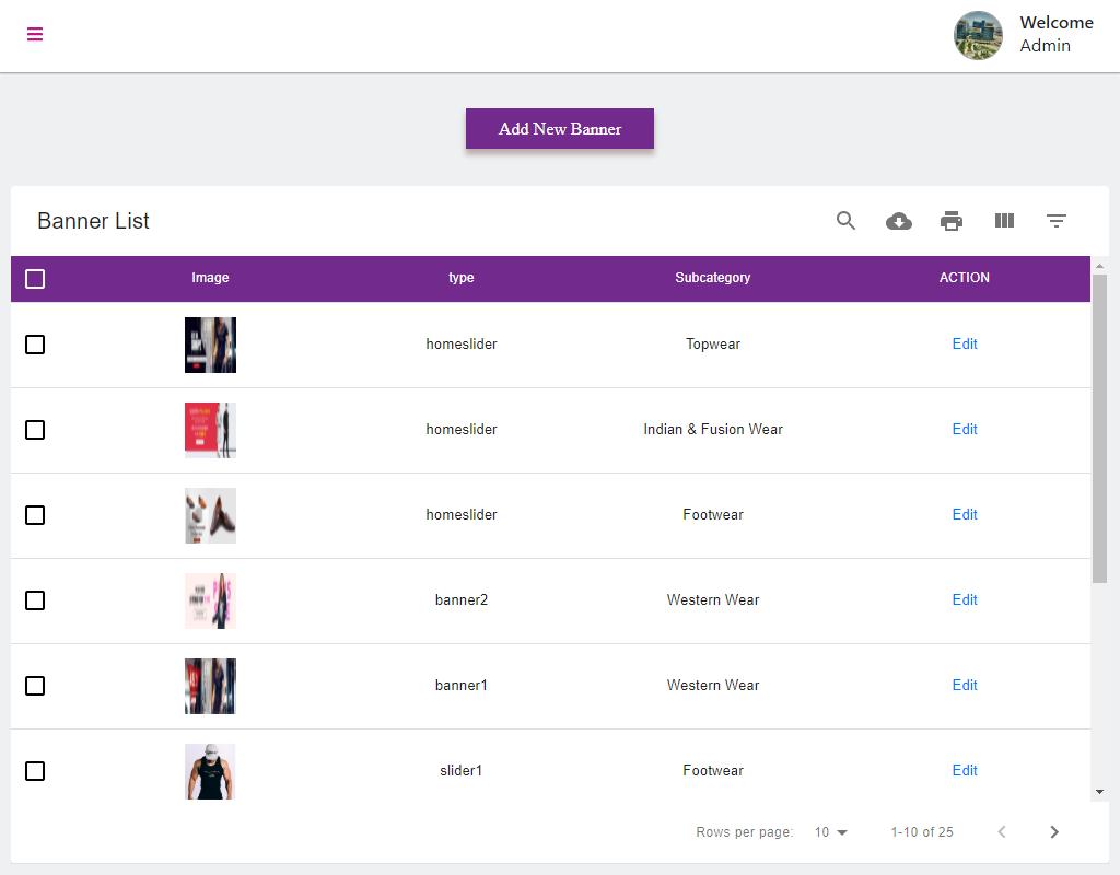 Banner Management E-commerce Admin
