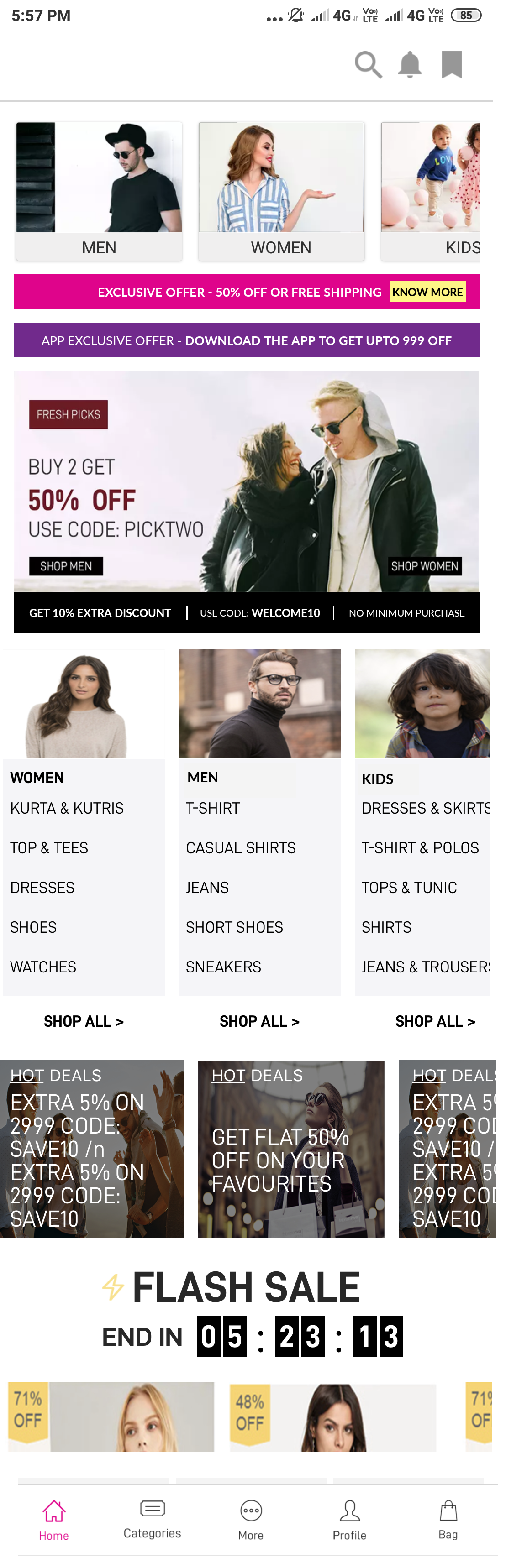Home Screen E-Commerce App