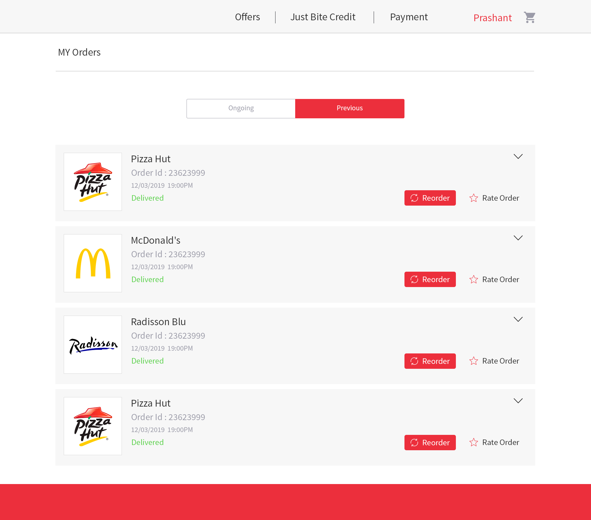 Customer Previous Order Listing