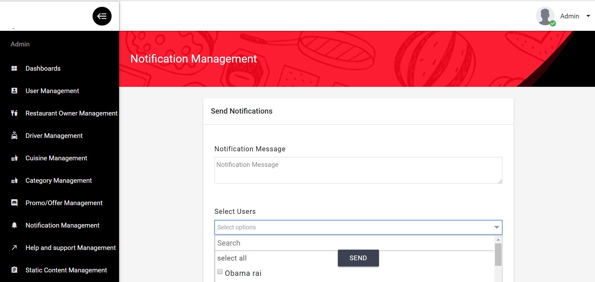 Business Admin Notification Management