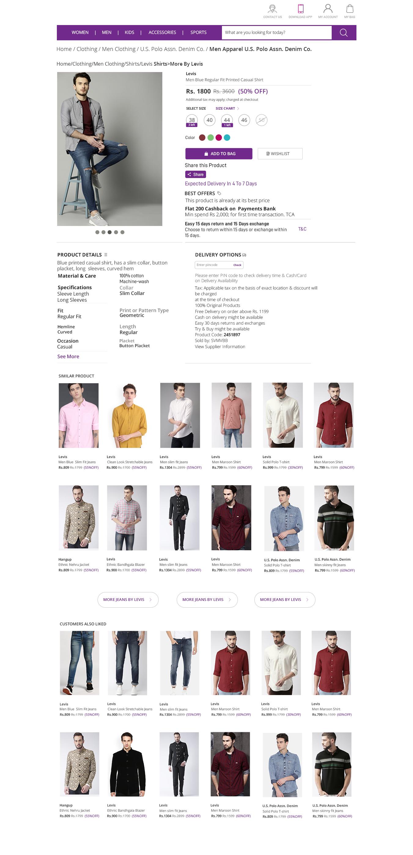 E-commerce Website Product description
